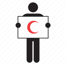 flag, hospital, humanitarian, islamic, moon, movement, red crescent icon
