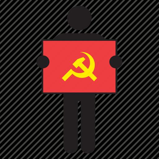 communism, communist, flag, hammer, sickle, soviet union icon