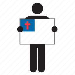 catholic, christendom, christian, christianity, flag, man, religion icon