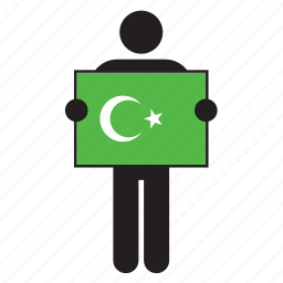 arab, flag, green, islam, islamic, muslim, star and crescent icon