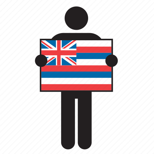 country, flag, hawaii, hawaiian, holding, man icon