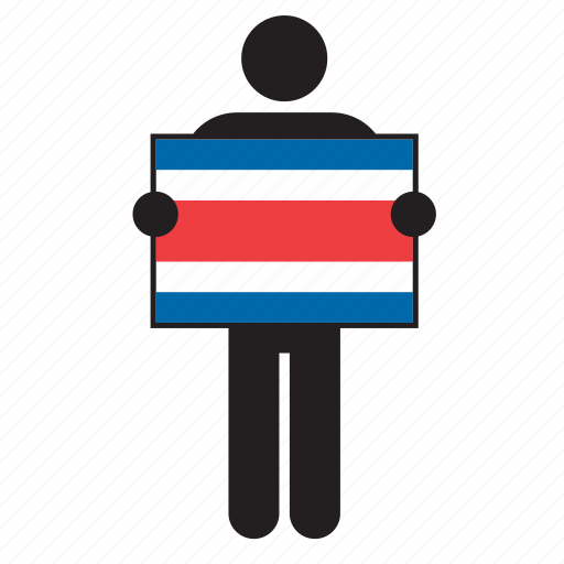 costa rica, costa rican, country, flag, holding, man icon