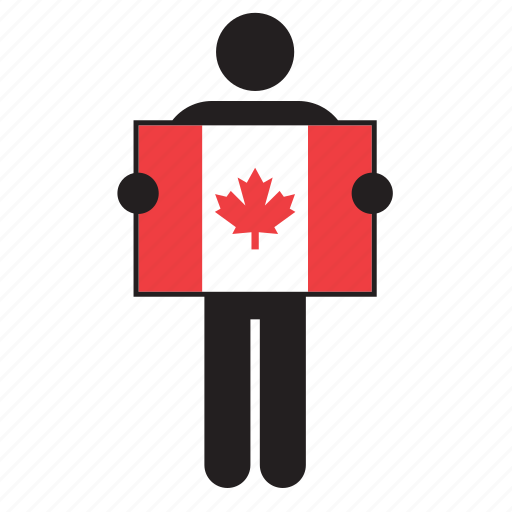 canada, canadian, country, flag, holding, man icon
