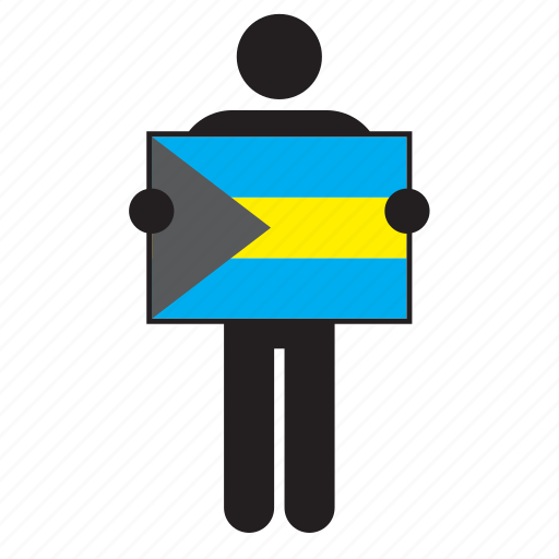 bahamas, country, flag, holding, man icon
