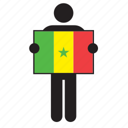 country, flag, holding, man, senegal, senegalese icon
