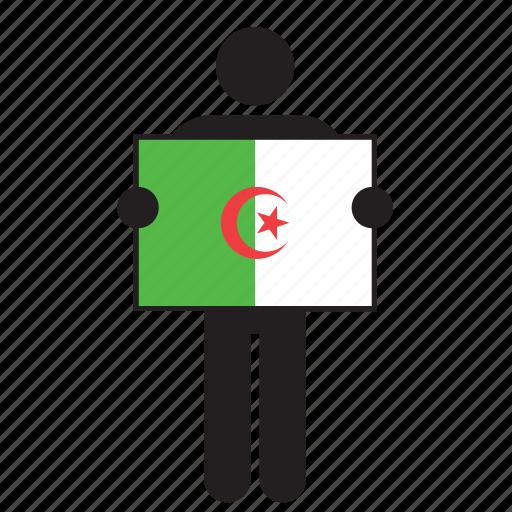 algeria, algerian, country, flag, holding, man icon