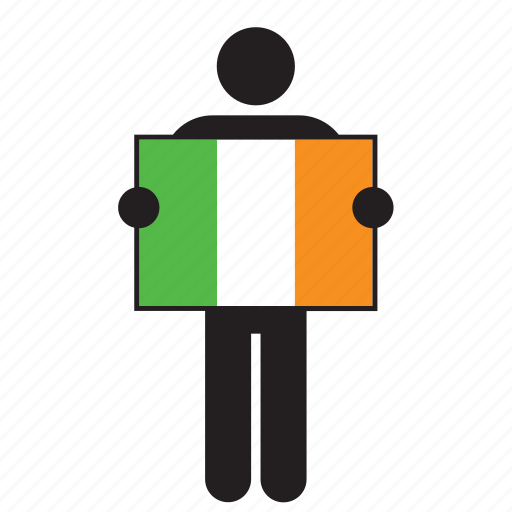 country, flag, holding, ireland, irish, man icon