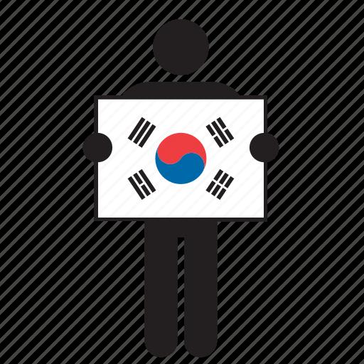 country, flag, holding, korean, man, south korea, south korean icon