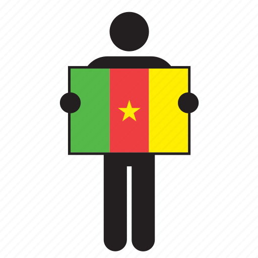 cameroon, country, flag, holding, man icon