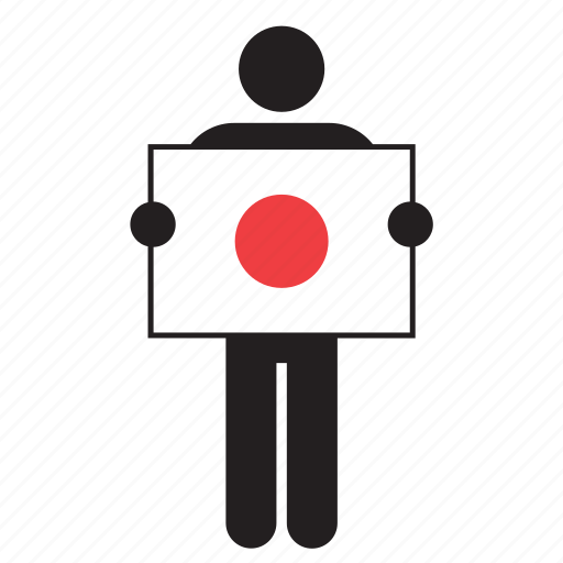 country, flag, holding, japan, japanese, man icon