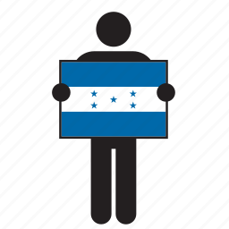 country, flag, holding, honduran, honduras, man icon