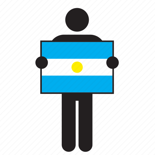argentina, argentinian, country, flag, holding, man icon
