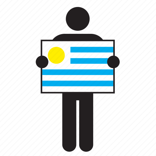 country, flag, holding, man, uruguay, uruguayan icon