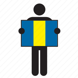 barbados, country, flag, holding, man icon