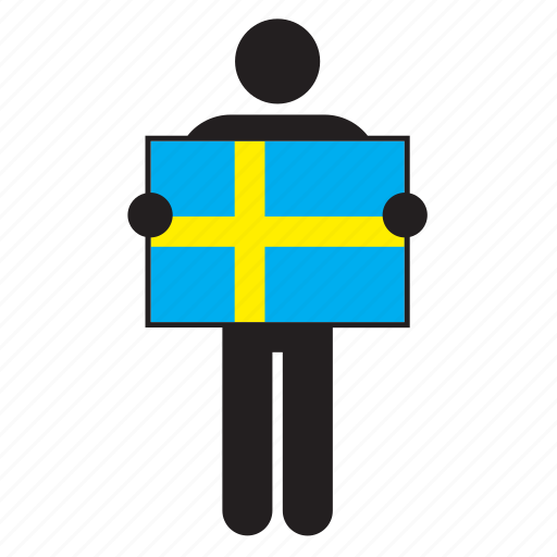 country, flag, holding, man, sweden, swedish icon