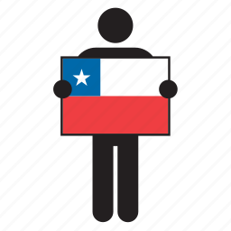 chile, chilean, country, flag, holding, man icon