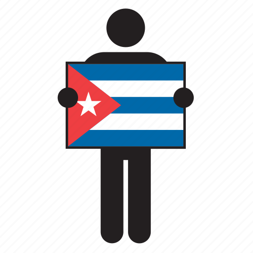 country, cuba, cuban, flag, holding, man icon