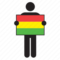 bolivia, bolivian, country, flag, holding, man icon