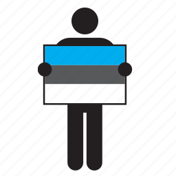 country, estonia, estonian, flag, holding, man icon