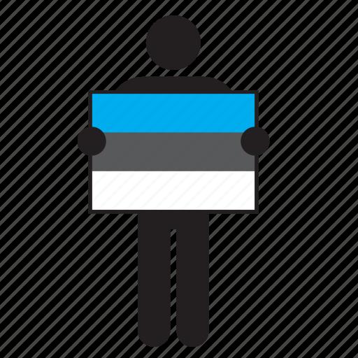 country, estonia, estonian, flag, holding, man icon