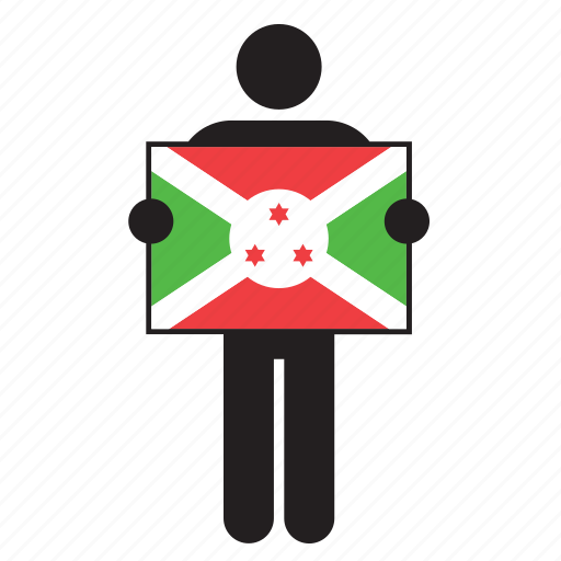 burundi, country, flag, holding, man icon