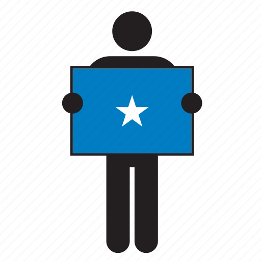 country, flag, holding, man, somali, somalia icon