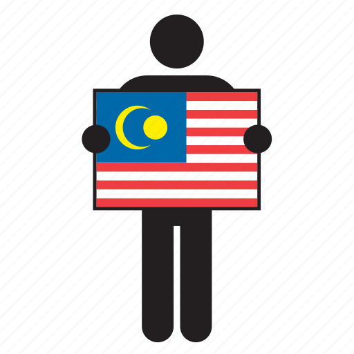 country, flag, holding, jalur gemilang, malaysia, malaysian, man icon