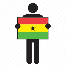 country, flag, ghana, ghanaian, holding, man icon