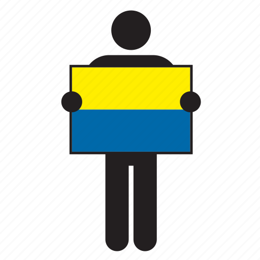country, flag, holding, man, ukraine, ukrainian icon