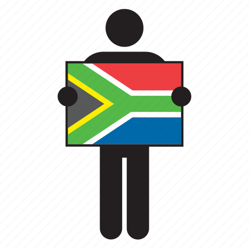 africa, country, flag, holding, man, south africa, south african icon