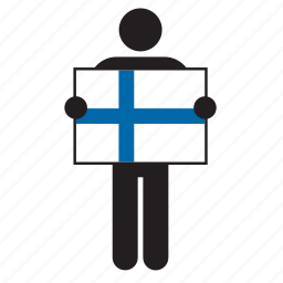 country, finland, finnish, flag, holding, man icon
