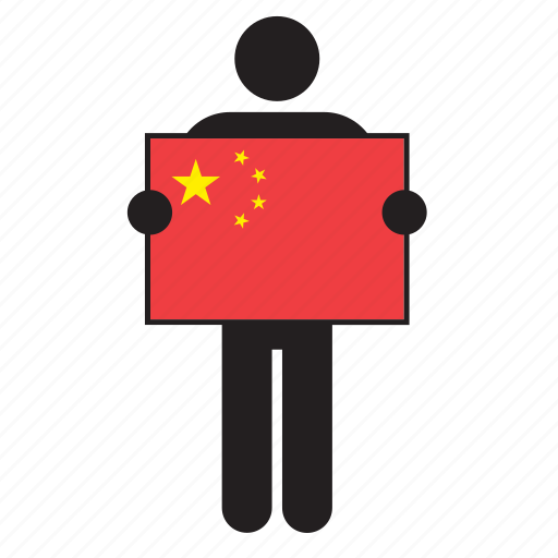 china, chinese, country, flag, holding, man icon