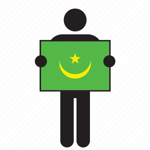 country, flag, holding, man, mauritania icon