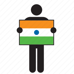 country, flag, holding, india, indian, man icon