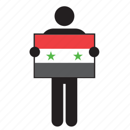 country, flag, holding, man, syria icon