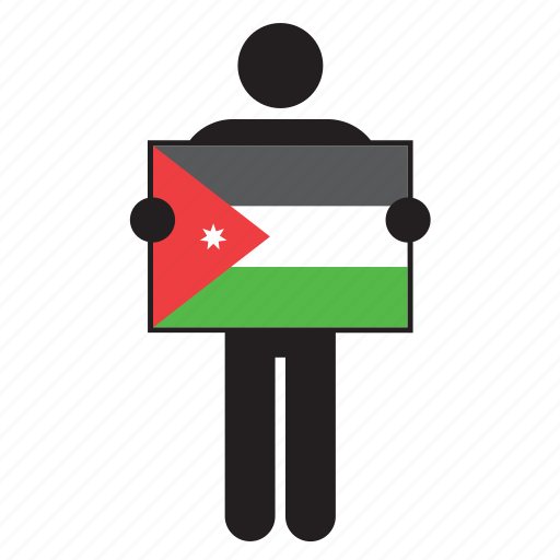 country, flag, holding, jordan, man icon