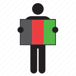 afganistan, country, flag, holding, man icon