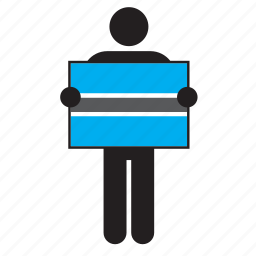 botswana, country, flag, holding, man icon