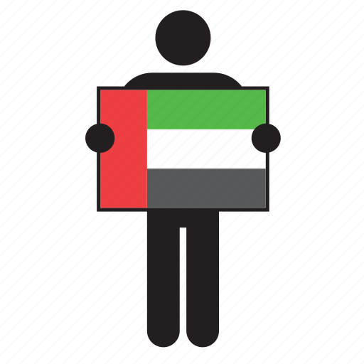 arab, country, eau, flag, holding, man, united arab emirates icon