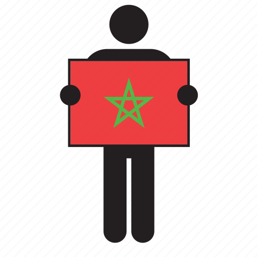 country, flag, holding, man, moroccan, morocco icon