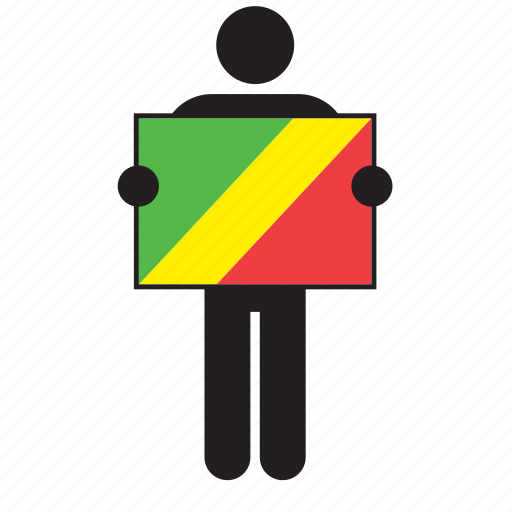 africa, african, congo, country, flag, man, republic of the congo icon