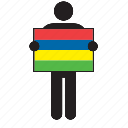 country, flag, holding, man, mauritius icon