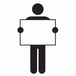 color, flag, holding, man, poster, sign, white icon