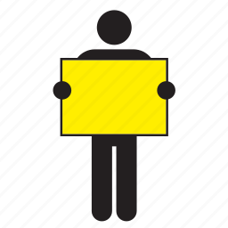 color, flag, holding, man, poster, sign, yellow icon