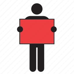 color, flag, holding, man, poster, red, sign icon