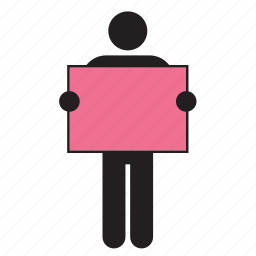 color, flag, holding, man, pink, poster, sign icon