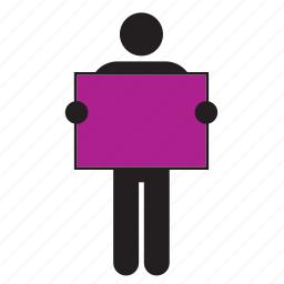 color, flag, holding, man, poster, purple, sign icon