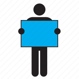 blue, color, flag, holding, man, poster, sign icon