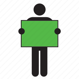 color, flag, green, holding, man, poster, sign icon