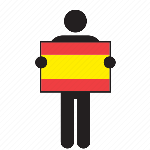 country, flag, holding, man, spain, spanish icon